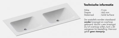 Solid-S Cloud solid surface wastafel 120x46x0.9cm mat wit - 2 wasbakken 1208913682