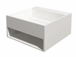 Solid-S Wall Special wastafel met handdoekrek rechthoek mat wit B50xD50x25Hcm zonder waste 1208914852 SHOWROOMMODEL