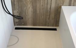 Design mat zwarte douchegoot volledig RVS met rvs flens 100cm douchedrain afvoergoot 1208914972