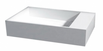 Solid-S Ice fontein B36xD18xH10cm solid-surface mat wit kraanbank rechts 1208915002