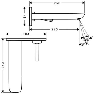 Hansgrohe Puravida afdekset wastafelkkraan uitloop 225 mm. chroom 15085000