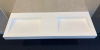 Solid-S Quatra dubbele wastafel solid surface mat wit B150xD51xH10cm 1208919568