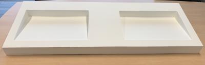 Solid-S Quatra dubbele wastafel solid surface mat wit B150xD51xH9,5cm 1208919568