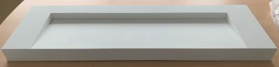 Solid-S Quatra wastafel solid surface mat wit zonder kraangat met solid cover B160xD48xH10 1208919570