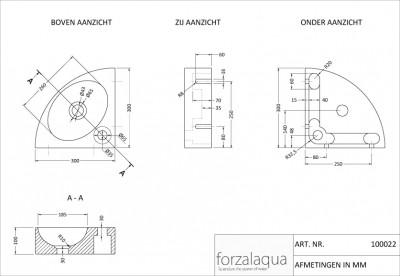 Forzalaqua TURINO fontein basalt G684 30x30x10cm 100022 tekening