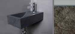 Forzalaqua VENETIA fontein graniet gekapt 40x22x10cm met kraangat rechts 8011215