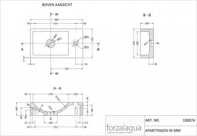 Forzalaqua VENETIA fontein hardsteen 40x22x10cm RECHTS 100074 tekening