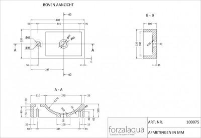 Forzalaqua VENETIA fontein hardsteen 40x22x10cm LINKS 100075 tekening