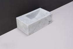 Forzalaqua VENETIA xs marmeren fontein Carrara marmer gepolijst 29 x 16 x 10 cm geen kraangat links 100433