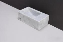 Forzalaqua VENETIA xs marmeren fontein Carrara marmer gepolijst 29 x 16 x 10 cm geen kraangat rechts 100432