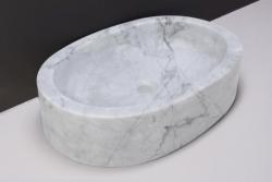 Forzalaqua Firenze marmeren opbouw opzetkom ovaal Carrara marmer gepolijst 50 x 35 x 12 cm zonder overloop 100436