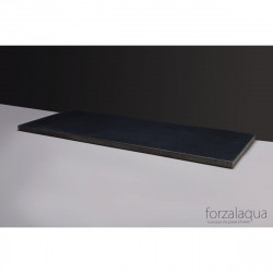 Forzalaqua Plateau wastafelblad antraciet graniet gebrand 120,5 x 51,5 x 3 cm met twee openingen 8010339