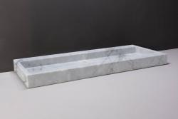 Forzalaqua Palermo marmeren wastafel Carrara marmer gepolijst 100,5 x 51,5 x 9 cm zonder kraangat 100477