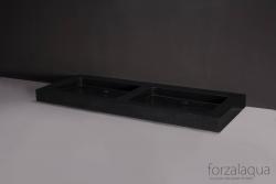 Forzalaqua Palermo Doppio dubbele wastafel graniet gezoet 140,5 x 51,5 x 9 cm zonder kraangaten 8010263