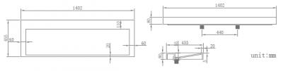 Solid-S Quatra wastafel solid surface mat wit zonder kraangat 140 x 45,5 x 8 cm 1208852752