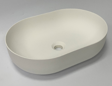 Solid-S Thin ovaal opbouw waskom solid surface mat wit B500xL350XH140mm zonder waste 1208920890