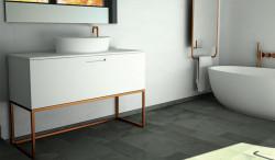TopLine Metal badmeubelset met stalen onderstel - 2 lades mat wit - 120x45x90cm - dubbele wastafel mat wit