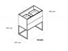 TopLine Metal badmeubelset met stalen onderstel - 2 lades mat wit - 70x45x90cm - dubbele wastafel mat wit