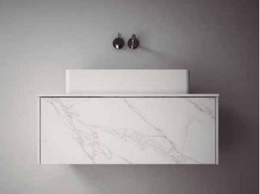 TopLine badmeubelset keramisch marmerlook - 2 lades - 180x45x90cm - inclusief keramisch marmerlook topblad voor een of twee waskommen (kloon)