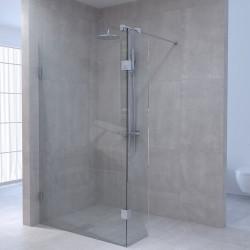Aquadesign Minimal Inloopdouche met zijwand profielloos 140x30x200 cm helder glas - chroom beslag