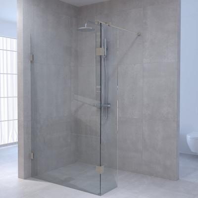 Aquadesign Minimal Inloopdouche met zijwand profielloos 100x30x200 cm helder glas - geborsteld rvs beslag