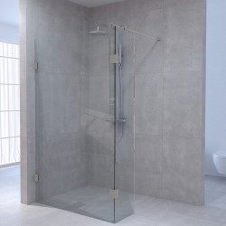Aquadesign Minimal Inloopdouche met zijwand profielloos 140x30x200 cm helder glas - geborsteld rvs beslag