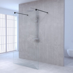Aquadesign Minimal Doorloopdouche profielloos 140x200 cm helder glas - zwart beslag