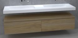TopLine Utrecht massief eiken naturel badmeubel 180x50x35cm met topblad en met greeploze en softclose laden 1208912612