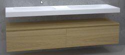 TopLine Utrecht massief eiken badmeubel 140x50x35cm met topblad kleur Mist  - 2 lades 1208947054