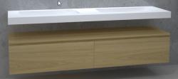 TopLine Utrecht massief eiken badmeubel 220x50x35cm met topblad kleur Mist - 2 lades 1208947061