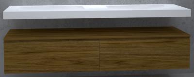 TopLine Utrecht massief eiken badmeubel 240x50x35cm met topblad kleur Dark Oak - 2 lades 1208947077