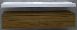 TopLine Utrecht massief eiken badmeubel 260x50x35cm met topblad kleur Dark Oak - 2 lades 1208947079