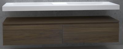 TopLine Utrecht massief eiken badmeubel 210x50x35cm met topblad kleur Havanna - 2 lades 1208947088