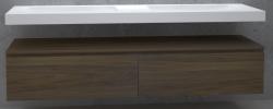 TopLine Utrecht massief eiken badmeubel 220x50x35cm met topblad kleur Havanna - 2 lades 1208947089
