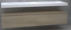 TopLine Utrecht massief eiken badmeubel 220x50x35cm met topblad kleur Smoke - 2 lades 1208947111