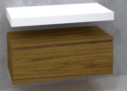 TopLine Utrecht massief eiken badmeubel 100x50x35cm met topblad kleur Dark Oak - 1 lade 1208947147