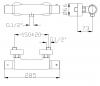 DEMM Uni douchethermostaat inclusief rozetten en s-bocht chroom 1208947365