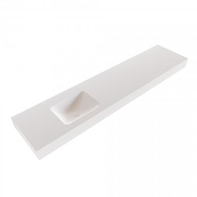 Solid-S Grunne solid surface vrijhangende wastafel 190x41x12cm mat wit - 1 wasbak links 1208947498