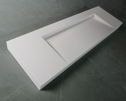 Solid-S Quatra wastafel solid surface mat wit zonder kraangat met solid cover B160xD48xH11 1208952412