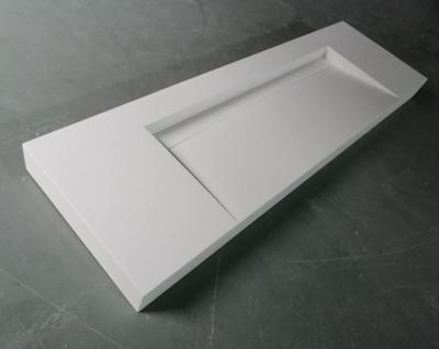 Solid-S Quatra wastafel solid surface mat wit zonder kraangat met solid cover B160xD48xH11 1208952412