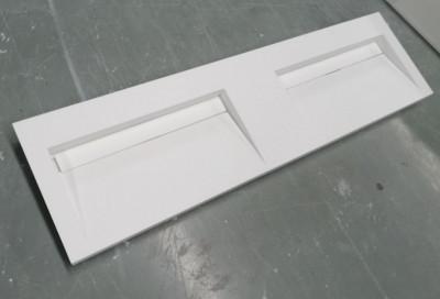 Solid-S Quatra dubbele wastafel solid surface mat wit zonder kraangat met solid cover B140xD45xH8cm 1208952414