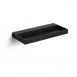 Clou Wash Me wastafel 90cm zonder plug mat zwart keramiek