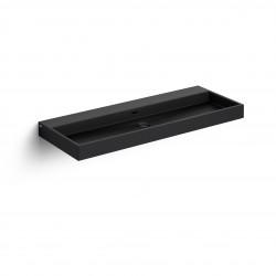 Clou Wash Me wastafel 110cm zonder plug mat zwart keramiek