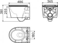 Clou InBe 1 wandtoilet met toiletzitting versie 48 cm wit ker. technische tekening