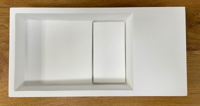 Solid-S Fontein solid surface B36xD18xH10 cm mat wit met cover 1208953167