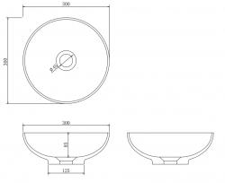 Solid S kleine waskom fontein Solid Surface rond 30 x 30 x 11 cm mat zwart 1208953271
