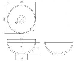 Solid S kleine waskom fontein Solid Surface rond 25 x 25 x 11 cm mat wit 1208953272