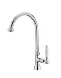 PB klassieke fonteinkraan met witte hendel koud water met hoge ronde uitloop chroom 1208953277