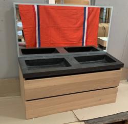 OUTLET EX SHOWROOM Massief eiken badmeubelset 120x45cm met natuursteen wastafel 2 krg en spiegel met led en verwarming 1208953329