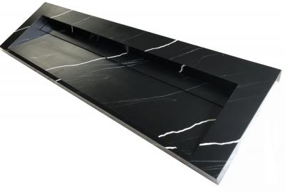 Solid-S Marble wastafel solid surface zwart marmer mat zonder kraangat met solid cover B140xD45xH8 1208953452